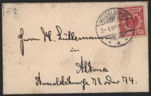 Deutsches Reich kleiner Damenbrief 10 Pfg. ab Wesselburen 3.4.1898 Schleswig