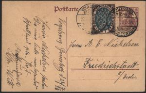Dt. Reich Ganzsache 15 Pfg. Germania ZUF 108 Vogelsang Schleswig Friedrichstadt