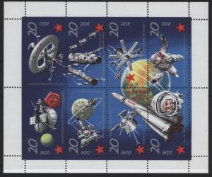 DDR Kleinbogen Weltraum Kosmos 1636-1643 1971 tadellos postfrisch