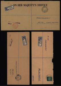 Großbritannien 3 Feldpost R - Briefe an Fernmeldeamt Heide Holstein R-Zettel mit