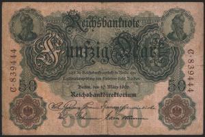 Geldschein Banknote Deutsches Reich Reichsbanknote 50 Mark 25 a C 10.3.1906 II