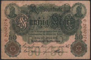 Geldschein Banknote Deutsches Reich Reichsbanknote 50 Mark 32 C 7.2.1908 II