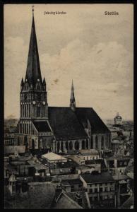 Ansichtskarte Stettin Jakobykirche Pommern via Swinemünde Świnoujście Polen n.