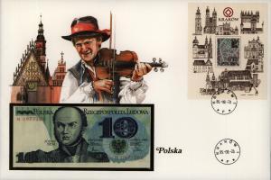Geldschein Banknote Banknotenbrief Polen Schein+ Briefmarkenausgabe sehr