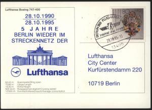 Bund Karte Flugpost Lufthansa Boing Motiv Berlin Brandenburger SST auf Postkarte