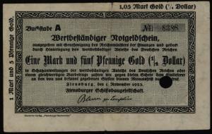 Geldschein Banknote Notgeld Flensburg Schiffsbaugesellschaft 1,05 Mark Gold F005