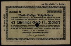 Geldschein Banknote Notgeld Flensburg Schiffsbaugesellschaft 2,10 Mark Gold F005