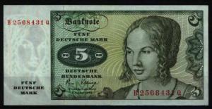 Bundesrepublik Geldschein Banknote 285 a 5 Deutsche Mark 2.1.1980 - I.
