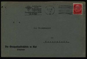 Dt. Reich Brief EF Lochung Polizei Kiel Masch.-St. NS-Fliegerkorps Flugpost