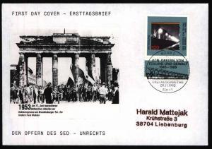 Bund Brief selbstgefertigter FDC Motiv Brandenburger Tor SST Bonn 1995