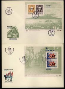 Portugal Azoren Block 1 bis 3 Europa CEPT 1980-1982 auf FDC Ersttag
