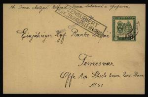 Österreich Ungarische Feldpost Ganzsache FP 3 b mit Zensur Belgrad 4.2.1917