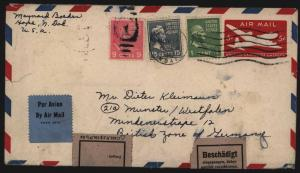 USA Gansache mit ZuF + Aufkleber Motiv Post Postgeschichte n. Munster