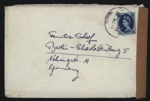 Großbritannien Brief EF n. Berlin mit Postaufkleber Motiv Post Beschädigung 1960