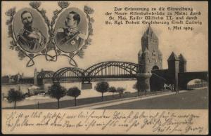 Ansichtskarte Mainz Einweihung Neue Eisenbahnbrücke Kaiser Wilhelm II. 1904
