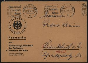 Bund Brief Postsache m. Masch.-Stempel Messe Frankfurt Motiv Post Postautomation