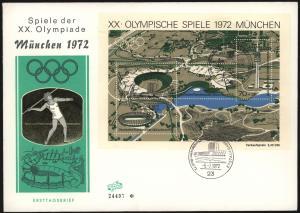 Bund Brief Block 7 Olympia München FDC tolle Abb Leichtathletik Sport