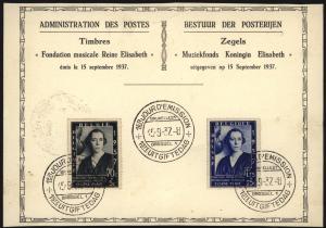 Belgien Sonderkarte Musik Königin Elisabeth Queen Elisabeth 1937