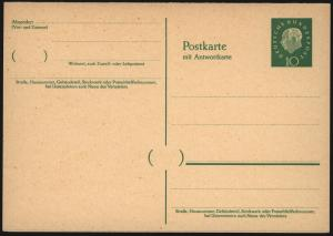 Bund Ganzsache Heuss P 39 10/10 Pfg.  F/A Frage u. Antwort tadellos ungebraucht