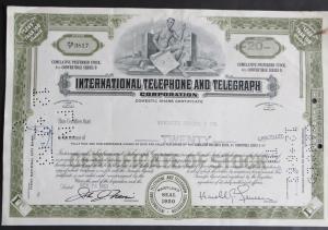 Historische Aktie USA 1963 International Telephone & Telegraph Corp. 20 Shares