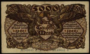 Geldschein Banknote Notgeld Baden 8 a 5000 Mark Mannheim 1.12.922 II.