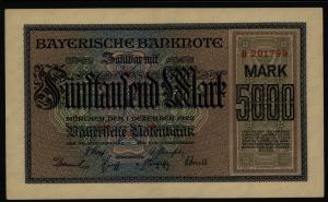 Geldschein Banknote Notgeld Bayern 6 - B 5000 Mark Länderbanknote 1.12.1922 - I.