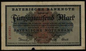 Geldschein Banknote Notgeld Bayern 8 50000 Mark Länderbanknote 15.3.1923 - II
