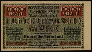 Geldschein Banknote Notgeld Bayern 9 100.000 Mark Länderbanknote 15.6.1923 - I.