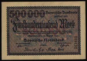 Geldschein Banknote Notgeld Bayern 11 500.000 Mark Länderbanknote 18.8.1923 - I.