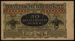 Geldschein Banknote Notgeld Bayern 15  50 Mio Mark Länderbanknote 20.8.1923 III