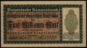 Geldschein Banknote Notgeld Bayern 219 5 Mio.Mark Staatsbank 1.8.1923 - I.