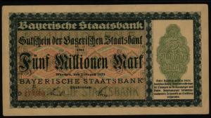 Geldschein Banknote Notgeld Bayern 220 c 5 Mio.Mark Staatsbank 1.8.1923 - I.