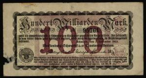 Geldschein Banknote Notgeld Mecklenburg-Schwerin 20 c 100 Mrd Mark 3.11.1923 -IV
