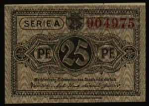Geldschein Banknote Notgeld Mecklenburg-Schwerin 8 d. 25 Pfg. 1.5.1922 - I.