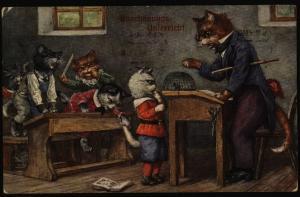 Anischtskarte Katzen personifiziert Künstler Tiere Schnapszahl 12.12.1912