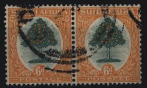 Südafrika 27/28 waagerechtes Paar zweisprachig 6 P Orangenbaum gestempelt