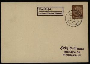 Dt. Reich EF 3 Pfg. Hindenburg Landpoststempel Neudörfel ü. Olbersdorf Sudeten