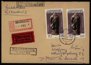 DDR Eilboten R - Brief MEF 3126 Kunstausstellung Senftenberg Biberach 12.101987