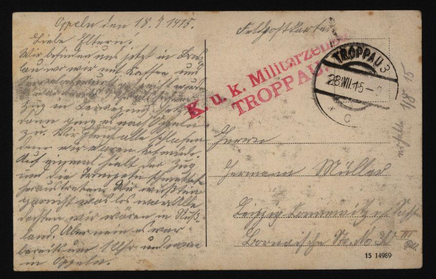 Ansichtskarte Breslau mit L2 K.u.K Militär-Zensur Troppau n. Leipzig 28.7.1915  1