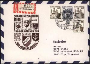 Bund Brief Privat - Ganzsache 2 WST Burgen & Schlösser + ZuF SST Heide Kaserne