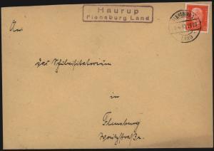 Deutsches Reich Brief mit Landpoststempel R2 Haurup Flensburg Land 1932