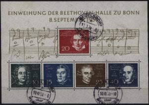 Bund Block 2 Beethoven mit Landpoststempel Büdelsdorf über Rendsburg 10.10.1959