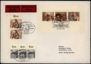 Bund Eilboten Brief Block 16 Nobelpreisträger portogerecht Brunsbüttel Hofheim