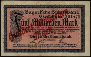 Geldschein Banknote Notgeld Bayern 229a 100 Mio. Mark Staatsbank 20.10.1923 - II