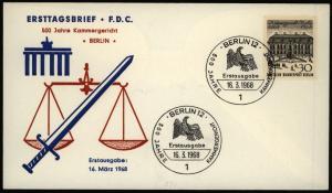 Berlin Brief Berlin Motiv Gericht Justiz Brandenburger Tor SST FDC 1968
