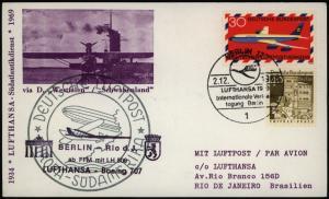 Bund Sonderkarte Lufthansa Boing 707 Südatlantikdienst Flugpost 1969