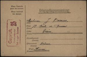 Kriegsgefangenenpost Dülmen Westfalen Vordruck-Karte n. Departement Drome 1917