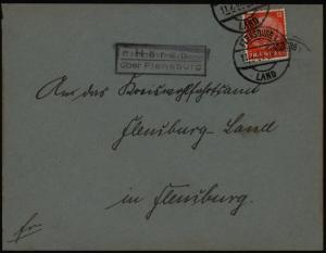 Deutsches Reich Brief mit Landpoststempel Hörup über Flensburg Schleswig