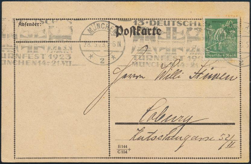 Dt. Reich Brief Postkarte EF 244 Sonder-Werbestempel 13. Turnfest München Sport 0