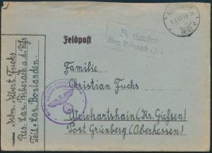 Deutsches Reich Brief Feldpost Landpoststempel Bonlanden Biberach Weickartshain